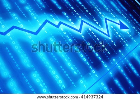 Abstract financial graph with glowing arrow  - stock photo