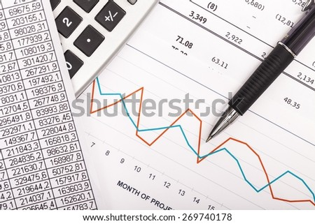Abstract. Financial graphs analysis - stock photo
