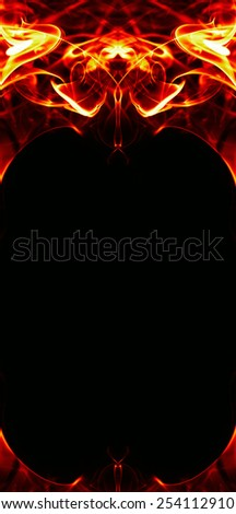 abstract fire flame frame on black background - stock photo