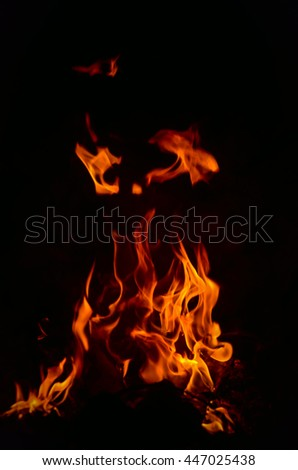 Abstract Fire flame on black background - stock photo