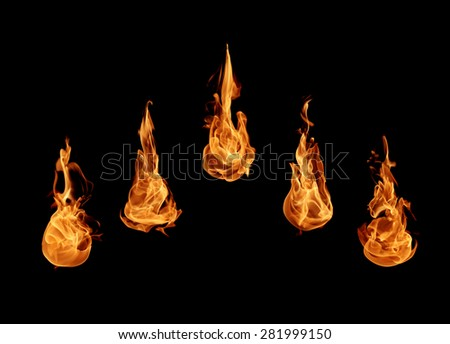 Abstract Fire flames collection on black background - stock photo