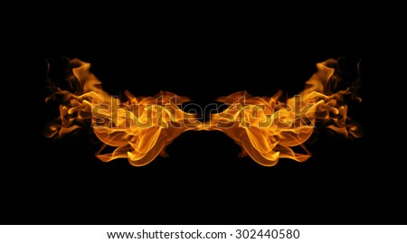 abstract fire flames resemble wing on black background - stock photo