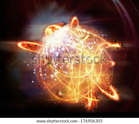 Abstract fireball on black background