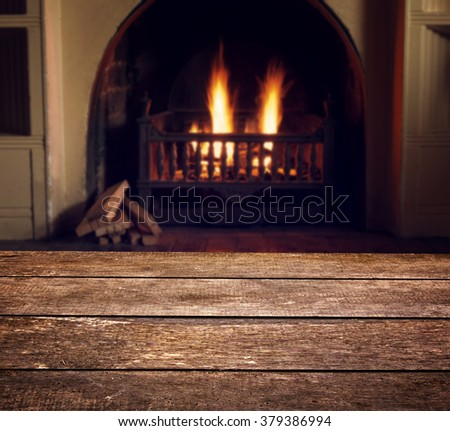 abstract fireplace with wood texture - stock photo