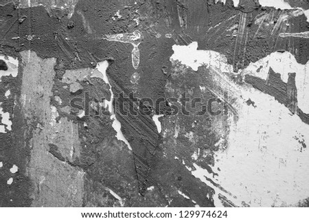 Abstract Flaked Facade Background in black and white - stock photo