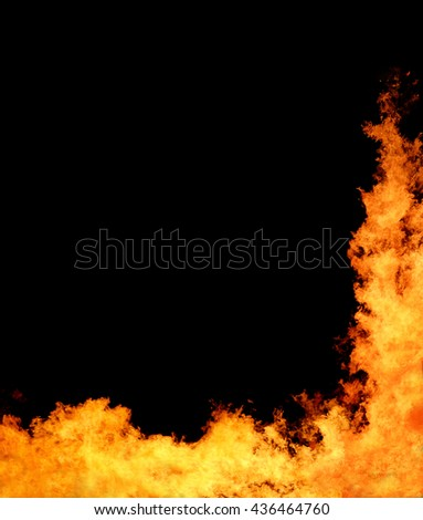 Abstract flame of fire on the black background. - stock photo