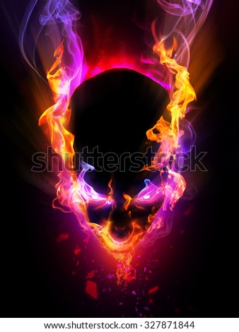 Abstract flaming head with eye shining light and smoke. Halloween concept - stock photo