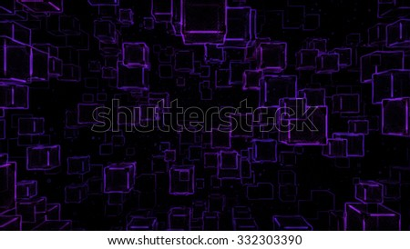 Abstract Floating Cubes Sketch Illustration - Purple