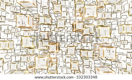 Abstract Floating Cubes Sketch Illustration - Yellow