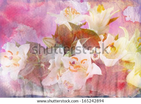 Abstract floral background combined with grunge ink paper texture - stock photo