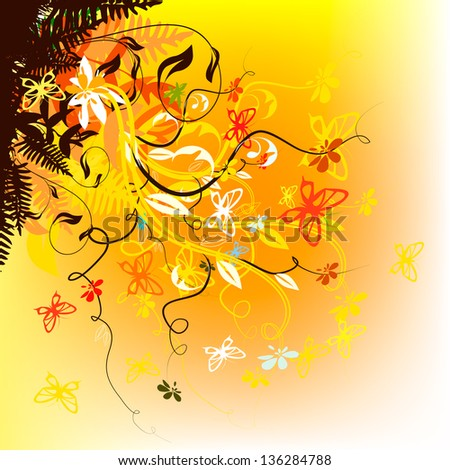 abstract floral background with butterflies. Raster