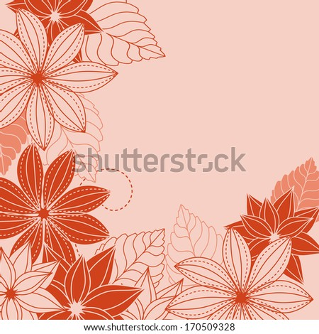 Abstract floral background with red and pink flowers. Vector version also available in gallery