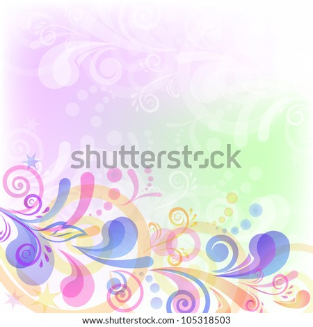 Abstract floral background with symbolical flowers and figures