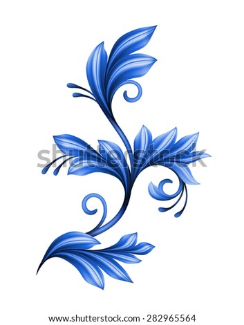 abstract floral design element, blue gzhel ornament isolated on white - stock photo