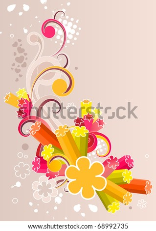 Abstract floral element on pastel background. Raster version. Vector version is in my gallery.