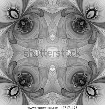 Abstract floral fractal design. Abstract texture. Kaleidoscope effect. Seamless pattern. Black and white - stock photo