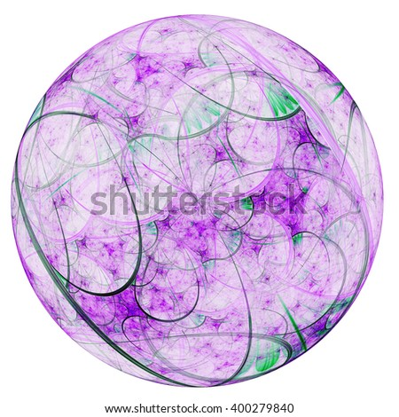 Abstract floral fractal sphere, digital artwork for creative graphic design - stock photo