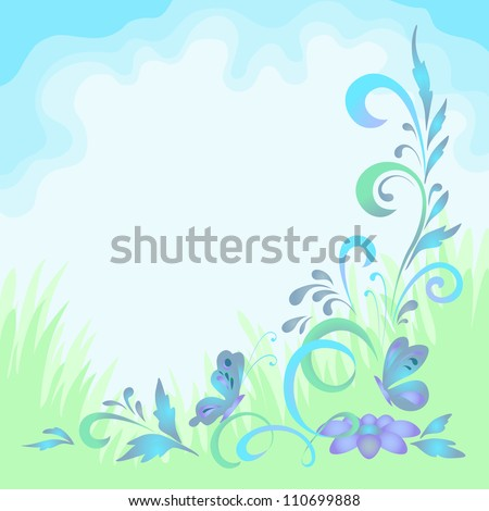 Abstract floral green and blue background, symbolical flowers and butterflies