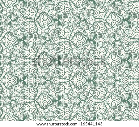 abstract floral green seamless pattern on a beige background