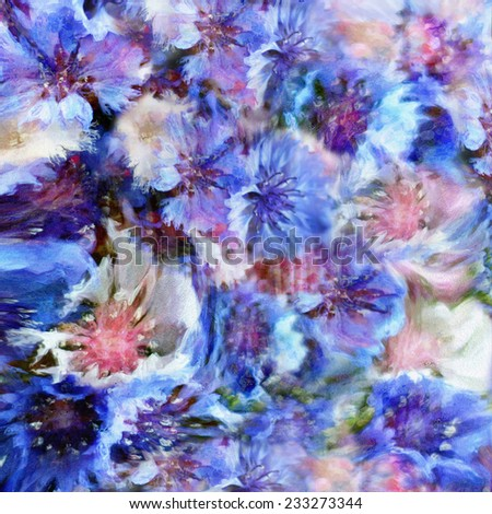 Abstract floral hazy background with stylized blue and white cornflowers - stock photo