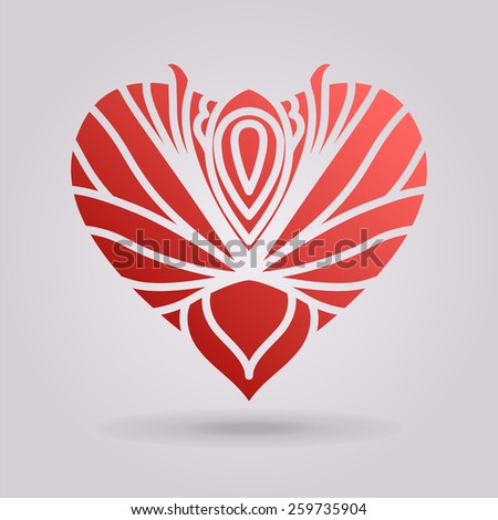 Abstract floral heart. - stock photo