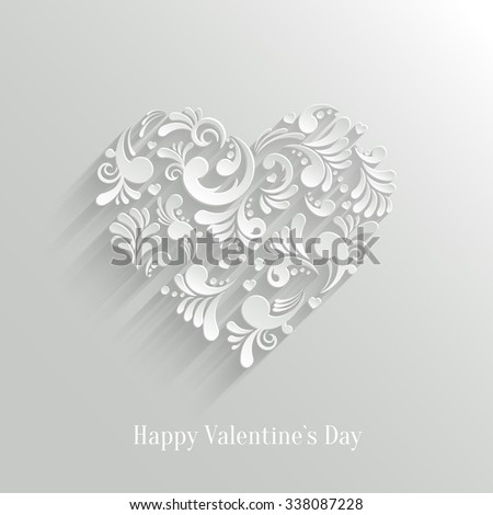 Abstract Floral Heart  Background. Valentine`s Day Card. Trendy Design Template