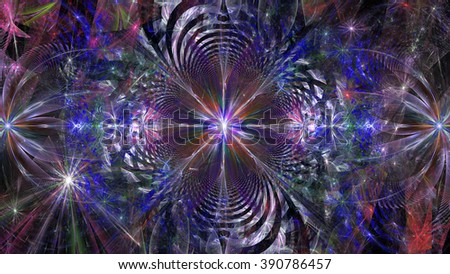 Abstract floral like star with a surrounding decorative vortex background, all in shining blue,pink,green,purple