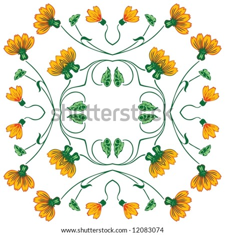 Abstract floral ornament - graphic illustration