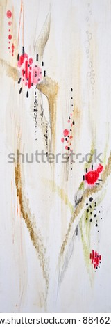 Abstract floral painted background - stock photo