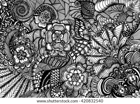 Abstract floral pattern hand drawn scetch