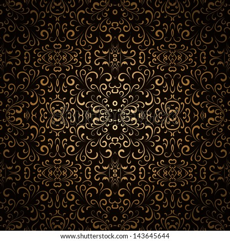 Abstract floral seamless pattern, vintage gold background, raster version