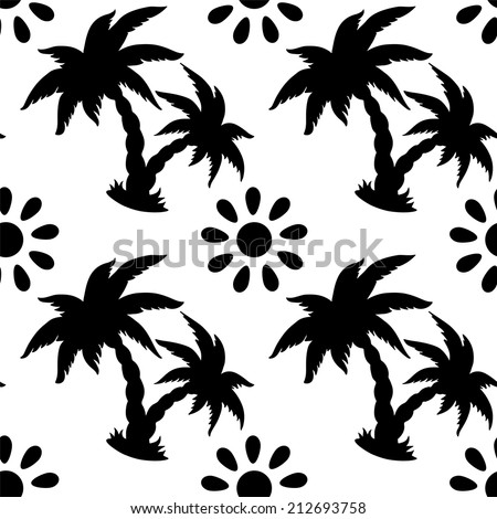 Abstract floral seamless pattern with silhouettes tropical coconut palm trees and the sun in black and white. Monochrome background. Endless print texture. Fabric design. Wallpaper - raster version - stock photo