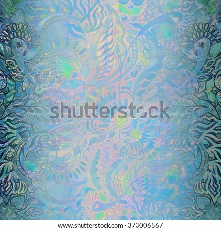 abstract floral shabby blue  surface