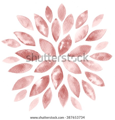 Abstract Floral Watercolor Hand Painted Background. Rose Quartz Tint Watercolour Texture. Pastel Colored Palette. - stock photo