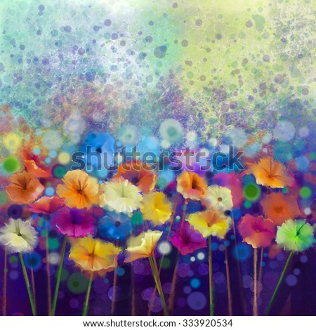 Abstract floral watercolor painting. Hand paint White, Yellow, Pink and Red color of daisy- gerbera flowers in soft color on blue- green color background.Spring flower seasonal nature background - stock photo