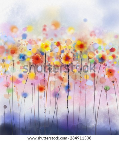 Abstract floral watercolor paintings.Red flowers in soft color on grunge paper background - stock photo