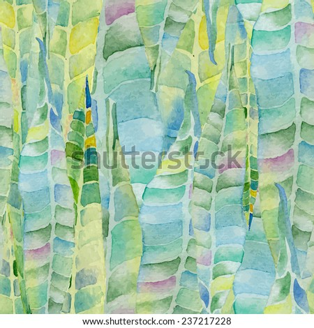 Abstract floral watercolor seamless background. Green oleander leaves background. Can be used for swimwear, web pages, identity style, printing, textile, cards, etc. - stock photo