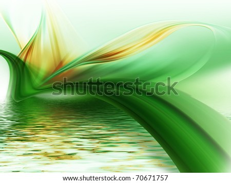 abstract flower above the water - stock photo