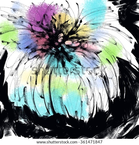 Abstract flower art backgrounds. Hand-painted background.