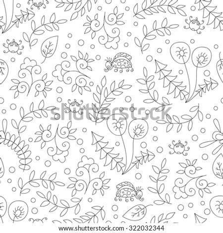 Abstract flower black and white seamless pattern,