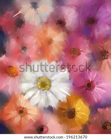 Abstract flower.Gerbera Flower.Oil painting - stock photo
