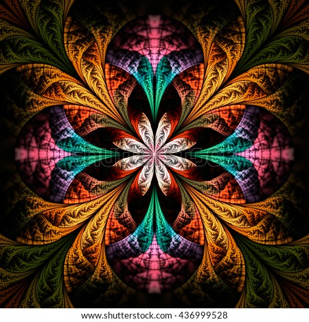 Abstract flower mandala on black background. Symmetrical pattern in green, orange and pink colors. Fantasy fractal design for postcards, wallpapers or clothes. - stock photo