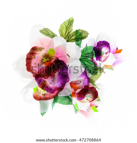 Abstract flower, orchid flower print in soft colors made from fabric.