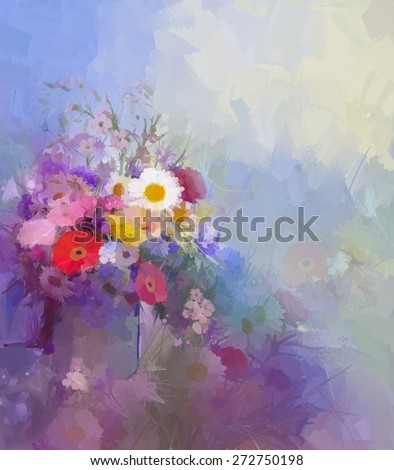 Abstract flower painting.Vase with still lift bouquet of Vintage flowers oil painting.Flowers in soft color and blur style for background. - stock photo