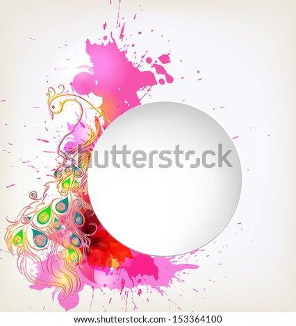 abstract flower with colorful elements, blots and place for your text.