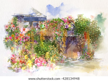 Abstract flowers on Wall, roof  watercolor painting. Spring multicolored flowers