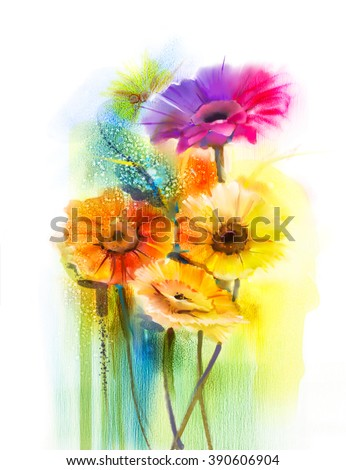 Abstract flowers watercolor painting. Hand paint still life of Yellow, Pink and Red color daisy- gerbera floral in soft color on white yellow, green color background. Spring flower nature background - stock photo