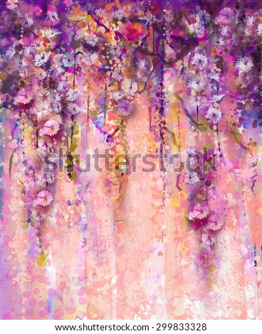 Abstract flowers watercolor painting. Spring purple flowers Wisteria with bokeh background. - stock photo