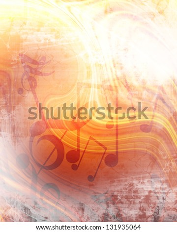 Abstract flowing fire background with music notes in it - stock photo