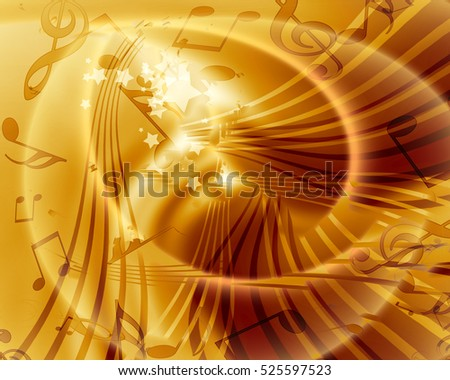 Abstract flowing golden background with music